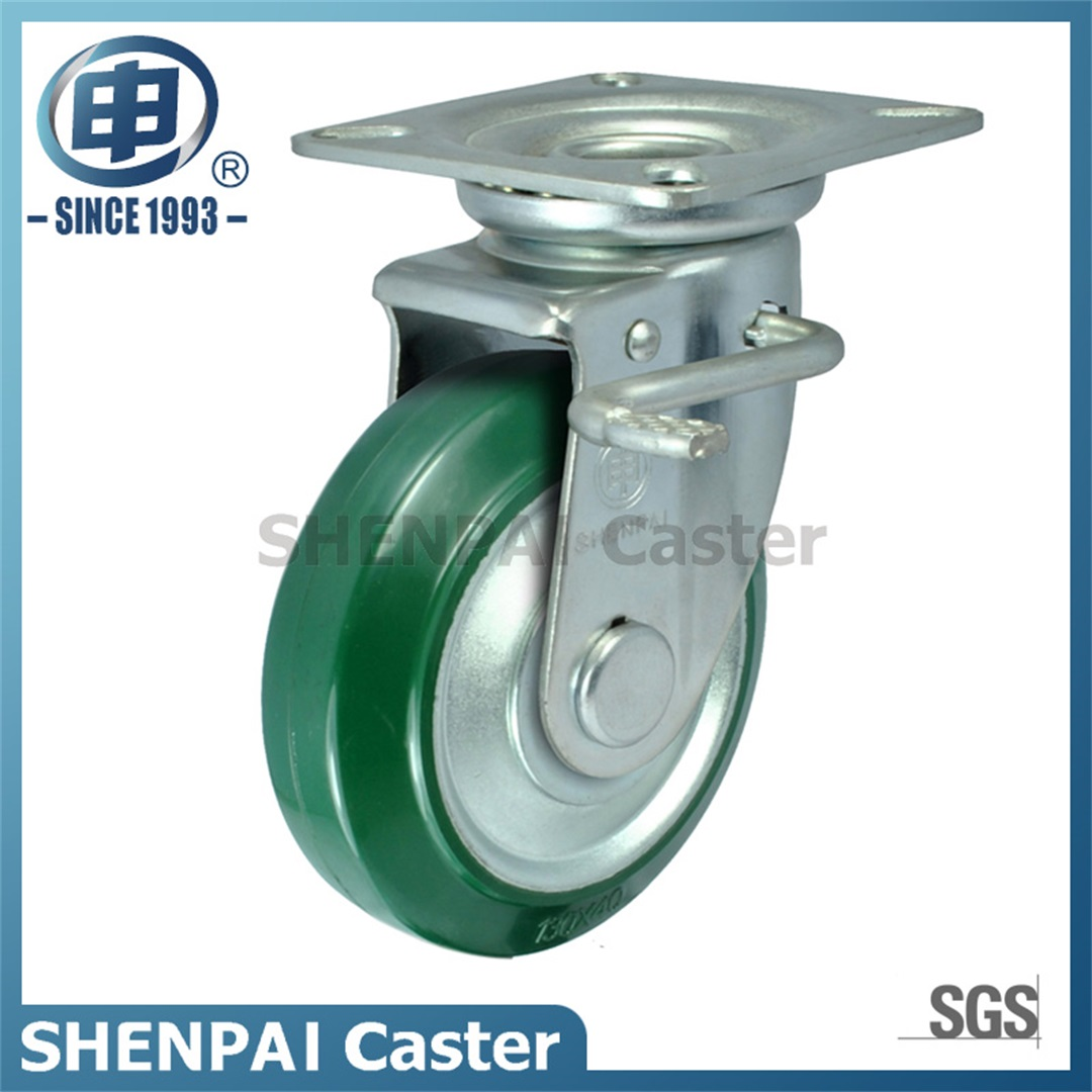 "5""Steel Core Rubber Threaded Stem Swivel Caster Wheel"
