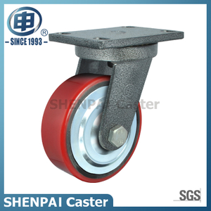 Heavy Duty Iron Core PU Swivel Industrial Caster (flat)