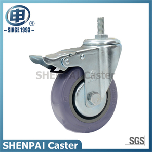 "4"" Polythene Threaded Stem Swivel Locking Caster Wheel"