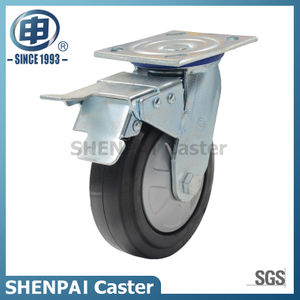 5Inch Rubber Castor Wheel swivel with brake