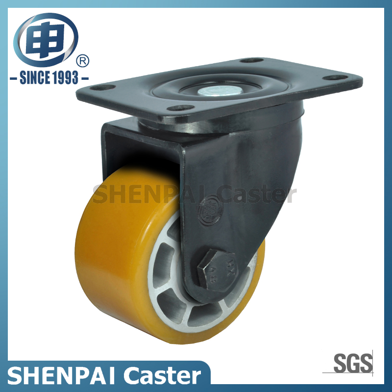 "3""Aluminium Core Yellow PU Swivel Caster Wheel"