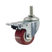 "2"" Polyurethane Threaded Stem Swivel Caster Wheel with brake"