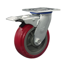 "4"" Red PU Swivel with brake Caster Wheel"