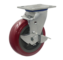 "5"" Red PU Swivel with brake Caster Wheel"