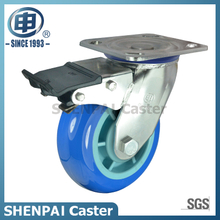 "5""Stainless Steel Bracket Swivel Locking PU Caster Wheel"